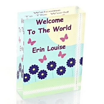 """Welcome to the World"" Crystal Block - Personalised New Baby Glass Gift or Keepsake"